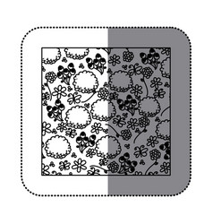 Sticker silhouette pattern roses and butterflies vector