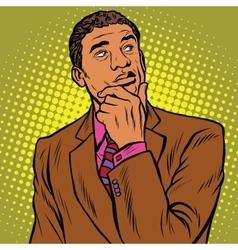 Thinker pose black businessman vector