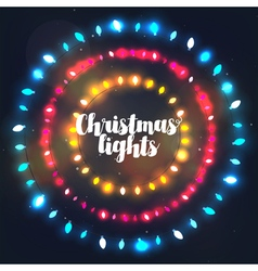 Three circle Christmas light borders vector image