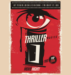 Thriller movies marathon retro poster design idea vector