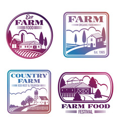 vintage colorful farm logos and labels set vector image vector image