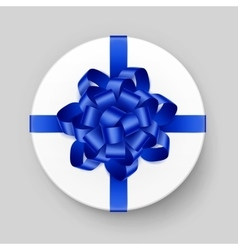 White gift box with blue bow and ribbon top view vector