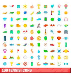 100 tennis icons set cartoon style vector