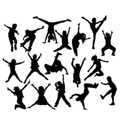 Happy Kid and Hip Hop Silhouettes vector image