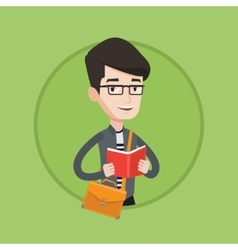 Student reading book vector