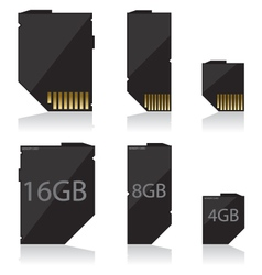 Memory card black vector
