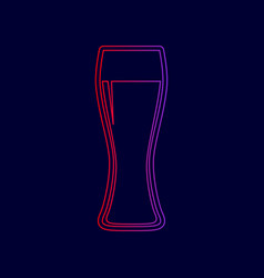 Beer glass sign  line icon with gradient vector