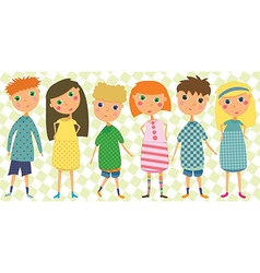 Set of 6 kids in cute clothes vector