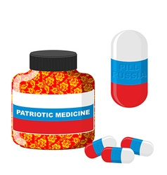 National patriotic medicine in russia pill with vector