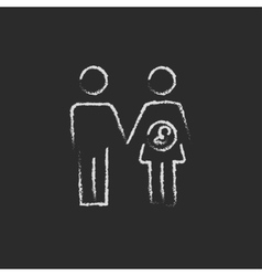 Husband with pregnant wife icon drawn in chalk vector