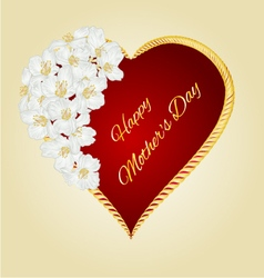 Happy mothers day heart with white flowers vector