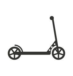 Black push kick scooter fun activity vector
