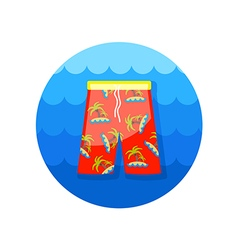 Men beach shorts icon summer vacation vector