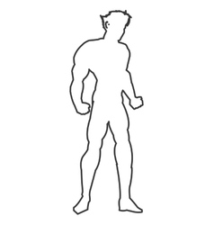 Muscular man silhouette outline icon vector