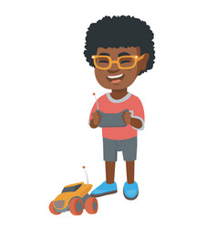 African boy playing with a radio-controlled car vector