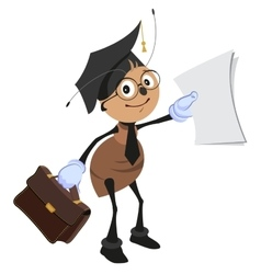 Ant teacher holding briefcase and clean sheet vector image vector image