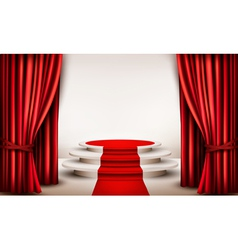Background with curtains and red carpet leading to vector image vector image