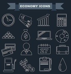 Black and white Economy icon set vector image vector image