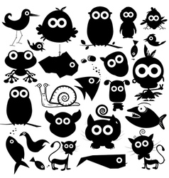Black Animals Silhouette Set vector image vector image