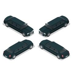 Black limousine vip car flat 3d vector