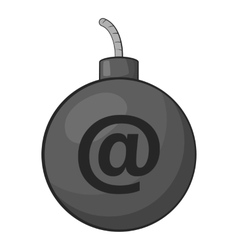 Bomb in e-mail icon gray monochrome style vector