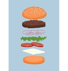 burger with various additions for customization vector image