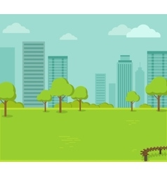 City park with a lawn and trees vector