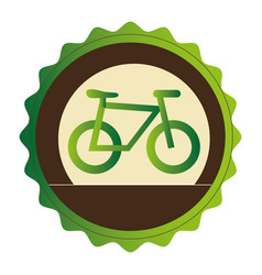 Colorful circular frame with eco bike vector