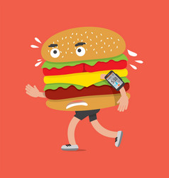 fast food or burger on the run health concept vector image vector image