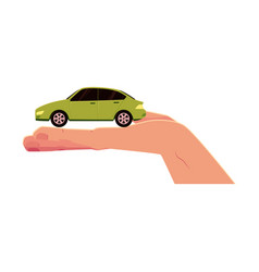 Flat car model in opened palm of hand vector