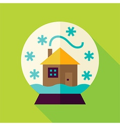 Flat snowglobe with house icon vector