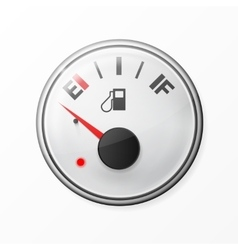 Fuel gauge empty with chrome frame vector