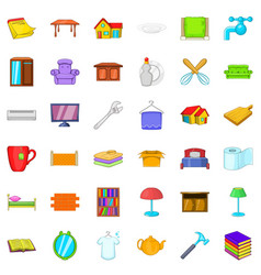 Furniture in house icons set cartoon style vector