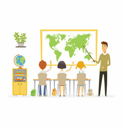 Geography lesson at school - modern cartoon people vector