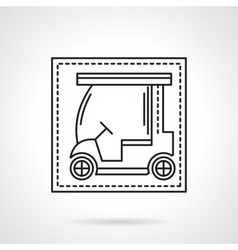 Golf car flat line icon vector