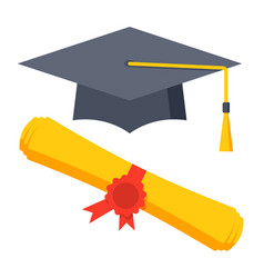 graduation cap and diploma icon vector image vector image
