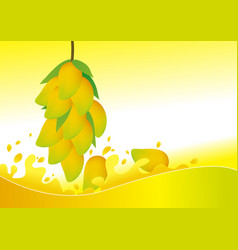 Mangoes and water splash design with copy space vector