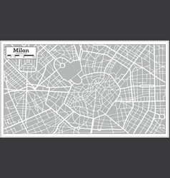 Milan map in retro style hand drawn vector