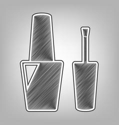 Nail polish sign pencil sketch imitation vector