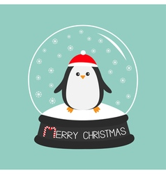 Penguin in red santa hat cute cartoon character vector