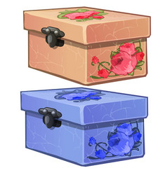 Pink and blue cardboard box with flower decoration vector