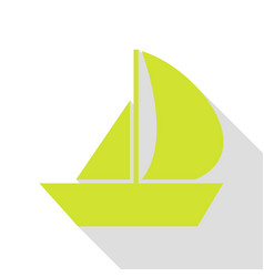 Sail boat sign pear icon with flat style shadow vector