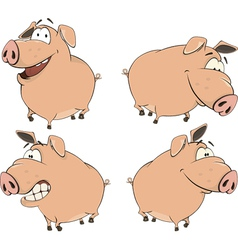 set of cheerful pigs cartoon vector image