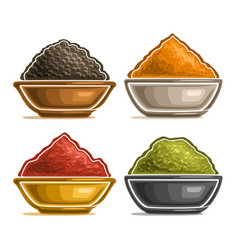 Set of spices in bowls vector
