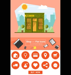 Shop and flat icons for e commerce book store vector