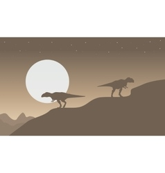 Silhouette of mapusaurus with big moon scenery vector image vector image