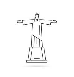 simple thin line statue of christ the redeemer vector image