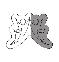 sticker of monochrome abstract contour of happy vector image