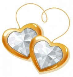 two gold hearts with diamonds vector image vector image
