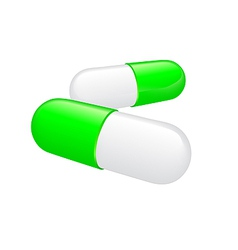 Two greenish white pills on white background vector